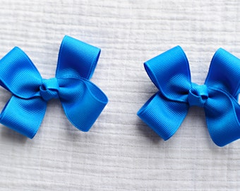 Blue Magic Hair Clippies,Pigtail Hair Bows,Alligator Clips,Non Slip,3 Inches Wide,Birthday Party Favors