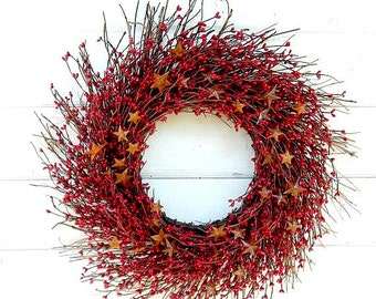 Summer Wreath-Red Wreath-Red Twig Wreath-Primitive Home Decor-Patriotic Wreath-Rustic Star Wreath-Red Berry Wreath-4th of July Wreath-Gifts