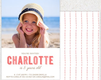 INSTANT DOWNLOAD--First Birthday Invitation Photoshop Card Template--b102