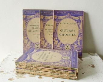8 petit vintage français livres, livre Classique, années 1930 Livre ancien, France, Paris, vieux papier éphémères