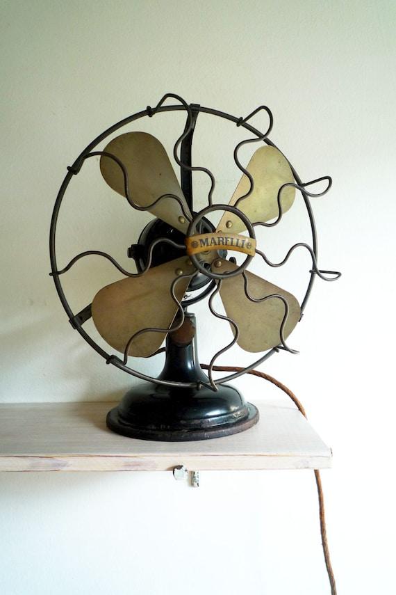 Like this item? - Antique Vintage Italian Electric Desk Fan Marelli 30's Air