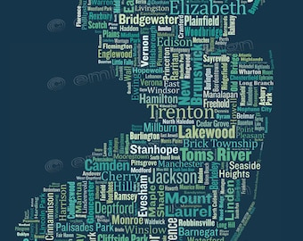 "SALE: New Jersey Type Map Art Print - 13 x 19"" // additional sizes available"