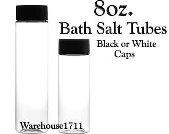8oz Clear Plastic Bath Salt Tubes | Candy Tubes | Hot Chocolate Tubes | Your Choice: Black or White Cap