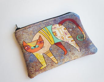 Coin purse, Small zipper pouch, Card wallet, Cat, Gift idea, Cat coin purse