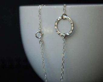 Sterling Silver Hammered Circle Bracelet, Sterling Silver Bracelet
