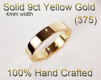 9ct 375 Solid Yellow Gold Ring Wedding Engagement Friendship Friend Flat Band 4mm