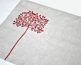 Red Tree Linen Placemat Set of 6, Natural Linen Red Tree Embroidery, Wedding Table Linen, Embroidered Placemat, Fabric Placemat, Table top