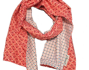 Red and white cotton reversible scarf