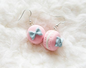 Pink Macaron Earrings / Macaroon Earrings / French Macaron / Food Jewelry / Food Earrings / Cute Earrings / Kawaii Earrings