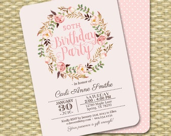 Printable Adult Birthday Invitation Watercolor Floral Birthday Invite Milestone Birthday PRINTING AVAILABLE