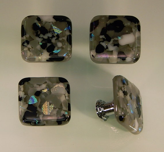 Decorative Fused Glass Cabinet Door Knobs Drawer Pulls