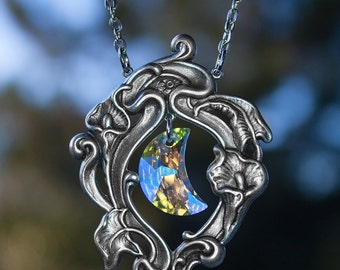 Occult Moon Necklace - Swarovski Crystal Necklace - Victorian Gothic Jewelry