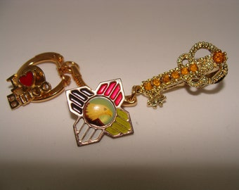 Keychain With Clip  & 2 Pins: Bingo, Glitzy Guitar and an Eagle