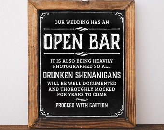 Chalkboard wedding signs. Printable Open bar wedding sign. Open bar sign. Bar sign for wedding. Wedding open bar. Rustic chalkboard poster