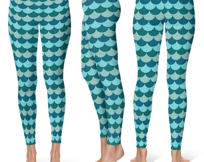 Blue Mermaid Leggings Yoga Pants, Printed Yoga Tights for Women, Dragon Scales Pattern