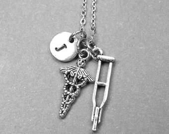 Caduceus necklace, crutches necklace, nurse necklace, doctor necklace, medical jewelry, personalized necklace, initial necklace, monogram