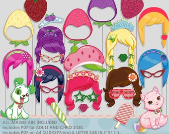 SALE!! Strawberry Girl Photo Booth Props for Princess Strawberry Party