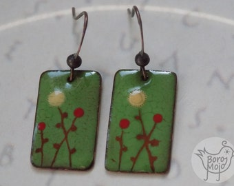 Green floral copper enamel earrings - Natural torch fired jewelry
