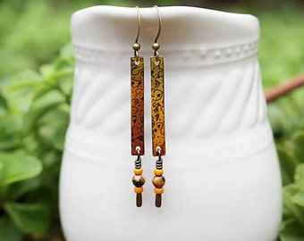 Mixed Media Earrings, Mixed Media Jewelry, Orange, Yellow Bead Earrings, Long Earrings, Recycled, Bohemian, Gemstone, Yellow Earrings