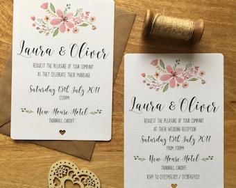 Wedding Invitations | Personalised | Evening | RSVP | Pink | Floral Rustic Vintage Package
