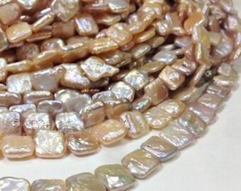 15 to 18 mm Freshwater Pearl Square Beads - Light Blush - Ivory - Full strand (G0737B45Q5)