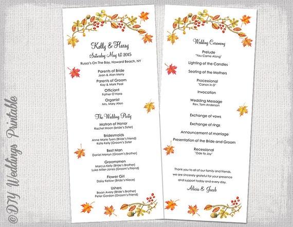 fall wedding program template fall leaves. Black Bedroom Furniture Sets. Home Design Ideas