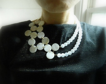 Shell Necklace Asymmetrical Necklace White Statement Necklace Chunky Necklace Beaded Necklace Quartz Necklace Avant Garde Modern Necklace