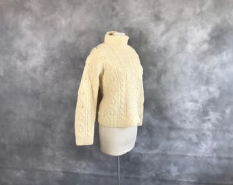 Cream Irish Fisherman Style Pullover Sweater Chunky Handknit, Large