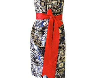 Strapless 1980's Aztec Tribal Print Blue and White Fabric with Large Red Bow