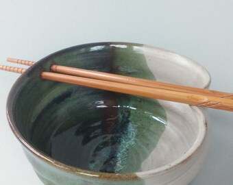 Handmade stoneware pottery spring green and waxy white rice or noodle bowl with FREE SHIPPING