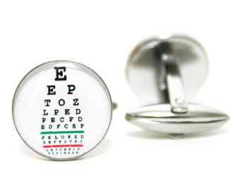 Eye Chart Test Cufflinks | personalized gift cuff links mens accessories everyday gifts men doctor physician Optometrist doctor glasses
