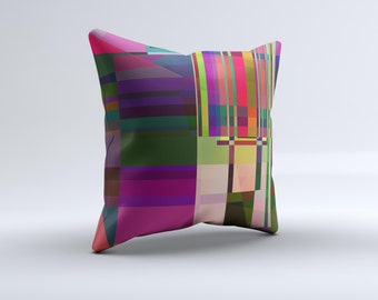 The Various Colorful Intersecting Shapes ink-Fuzed Decorative Throw Pillow