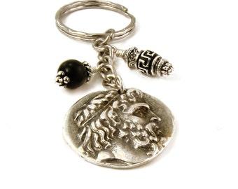 Coin Keychain, Poseidon and Nike Pendant, Onyx & Metal Beads Keychain, Replica Greek Coin Keychain