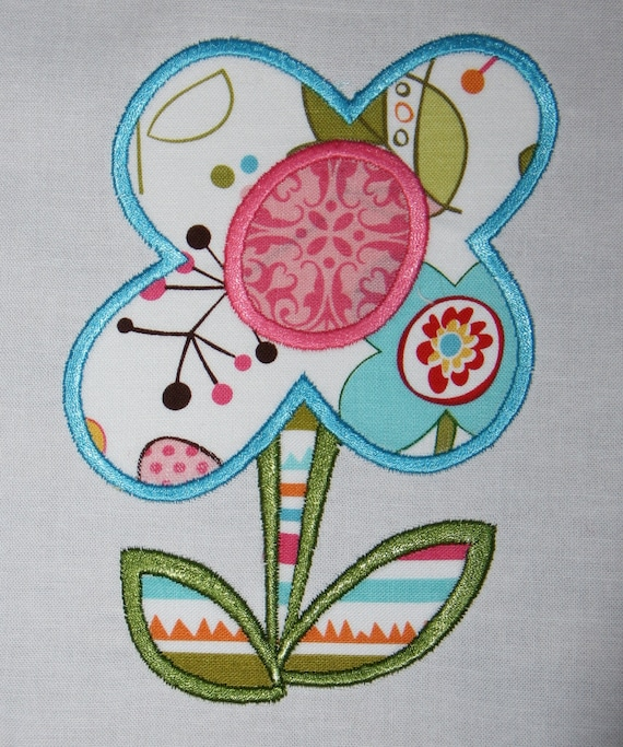 Stem Flower Machine Embroidery Applique Design