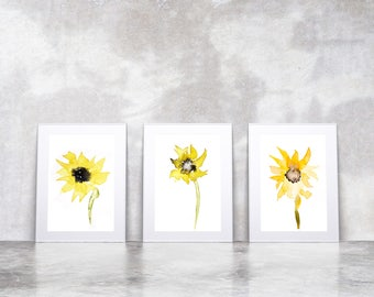 3 Sunflower Prints from my Original Watercolour Paintings of Sunflowers