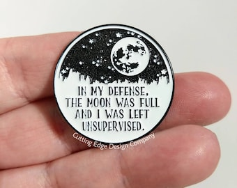 In My Defense Moon Enamel Pin | Pin Lover | Pin Collector | Moon Lover Gift | Moon Gift | Pin Flair | Glitter Pin | Lapel Pin | Moon Pin