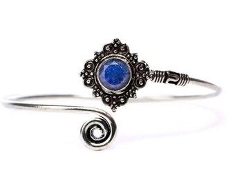 Boho Tribal Bangle Lapis Lazuli Gemstone Bracelet Adjustable Gift Boxed + Giftbag + Free UK Delivery WBB30