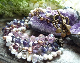 crystal an freshwaterpearl bracelet, vintage inspired  bracelet,  antique victorian bracelet, , 1920s bracelet, mauve bracelet, flower clasp