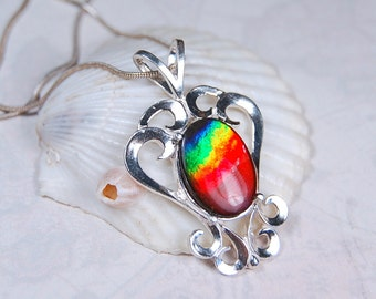 BIG Ammolite Pendant.Grade AA with 4 colours.A very impressive and strong piece.