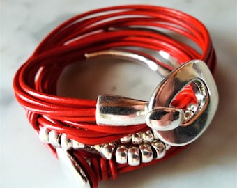 DUO Red Leather Bracelets