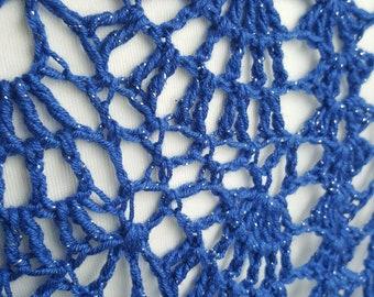 BLUE WEDDING SHAWL. Knitted Shawl, Knit Wrap, Crocheted Shawl, Handmade Shawl, Shoulder Wrap, Blue Shawl, Navy Shawl, Wedding Gift, Bride