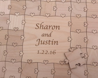Rustic 60 Large (2 inch) pieces CUSTOM Wedding Guest Book Puzzle with Heart Tabs