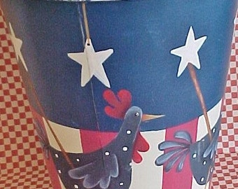Roosters on Tall Flower Bucket | Americana Funky Roosters | Tole Painted Patriotic Roosters