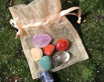 Set of 7 Chakra crystals/stones. Meditation stones, meditation crystals Chakra energy stones clearing crystals, meditation tools, chakra set