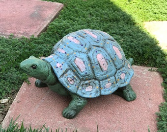Spring Garden Turtle Made Of Concrete Hand Painted Tortoise Decorative Patio Decor, Cement Turtles, Item #614333075