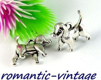 5 charms, charms in 3D, antique silver tone cute puppy