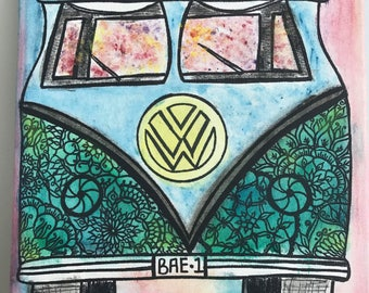 Gypsy, combi, combi van, hippie van, hippy, boho, mandala, colourful, painting, mandala combi van,  abstract