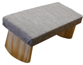 Folding Meditation Bench, two heights with cushion, portable. Hazel