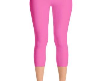 READY TO SHIP - Hot Pink Leggings in Size Medium, Yoga Pants for Women, Capris