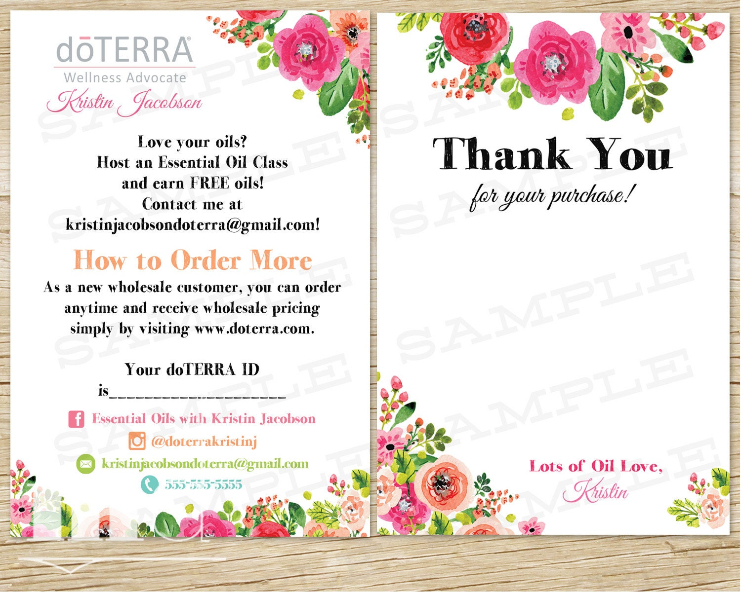 Doterra thank you and info card small business postcard zoom stopboris Images